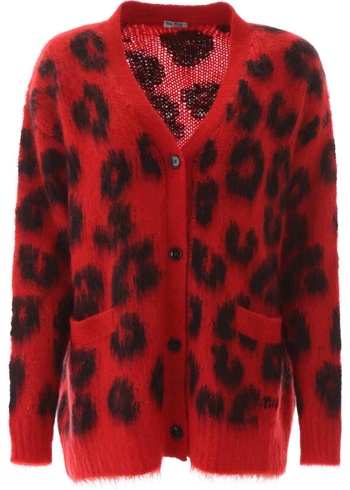 Miu Miu Leopard Print Cardigan ROSSO