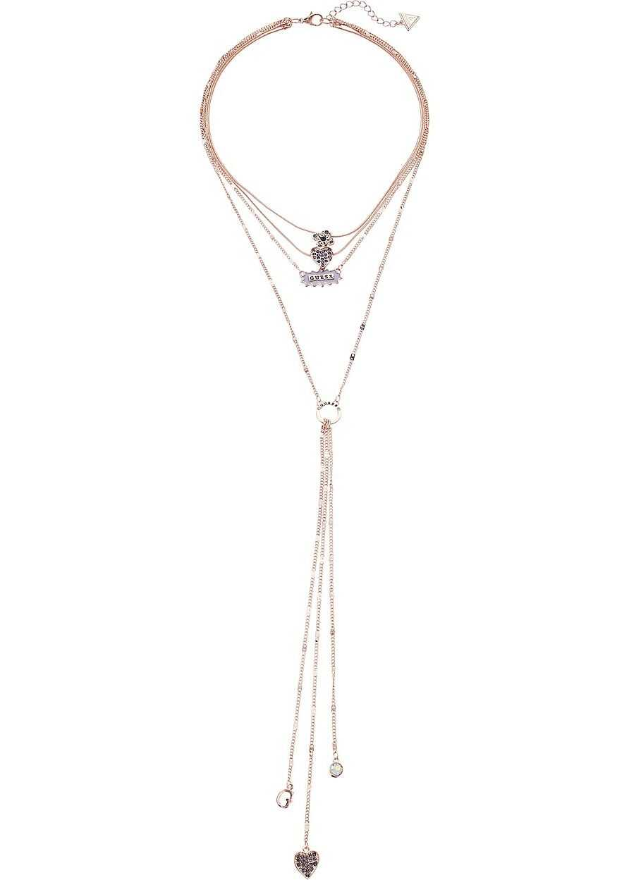 GUESS Multi-Row Dainty Chains Necklace with Y-Necklace Rose Gold/Purple