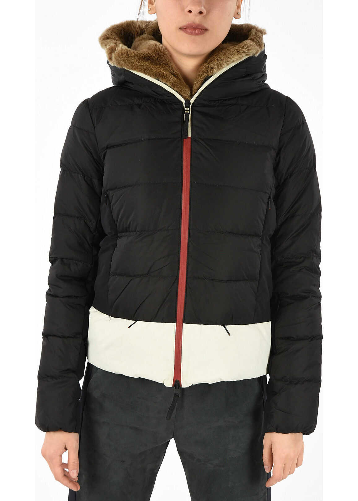 Duvetica Down AINE Jacket with Real fur BLACK
