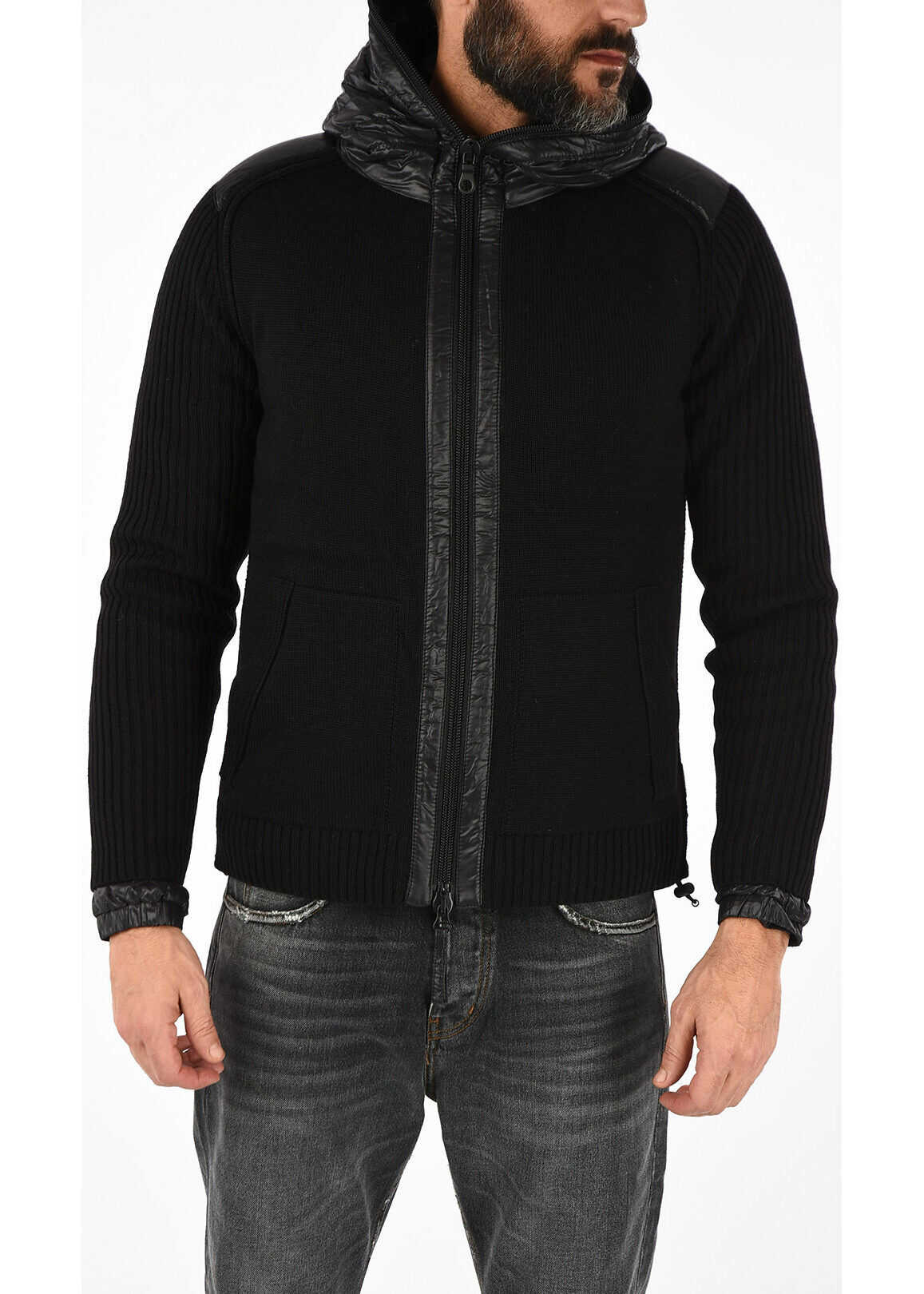 Duvetica Detachable down Jacket ATARIEDUE Knit BLACK