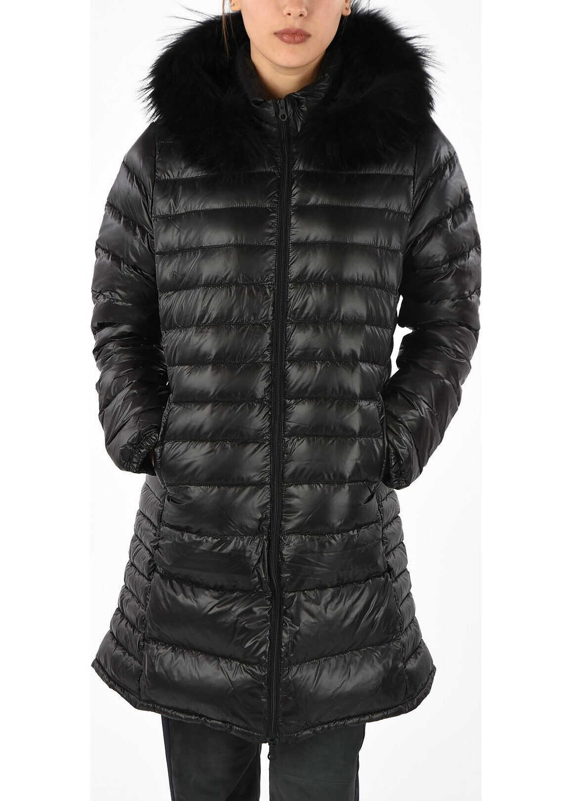 Duvetica Down OCIROE Jacket with Fur Trim Neck BLACK