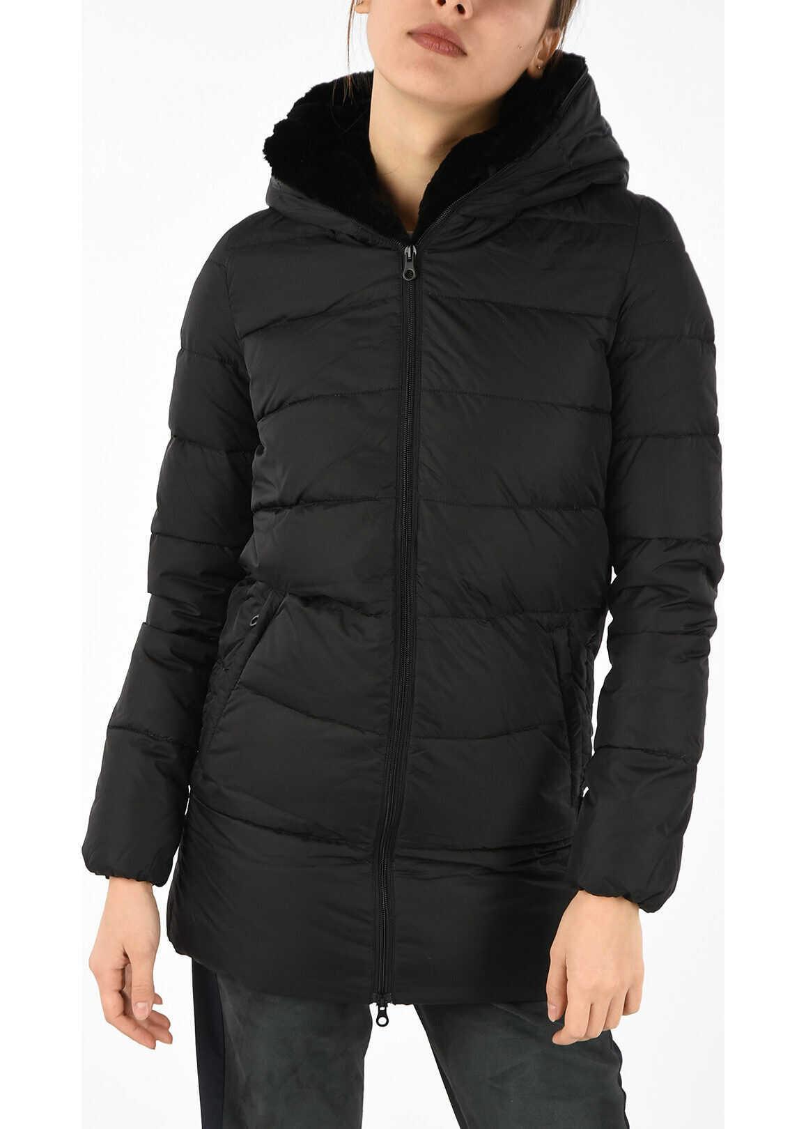 Duvetica Down CARYS Jacket with Fur Trim Neck BLACK