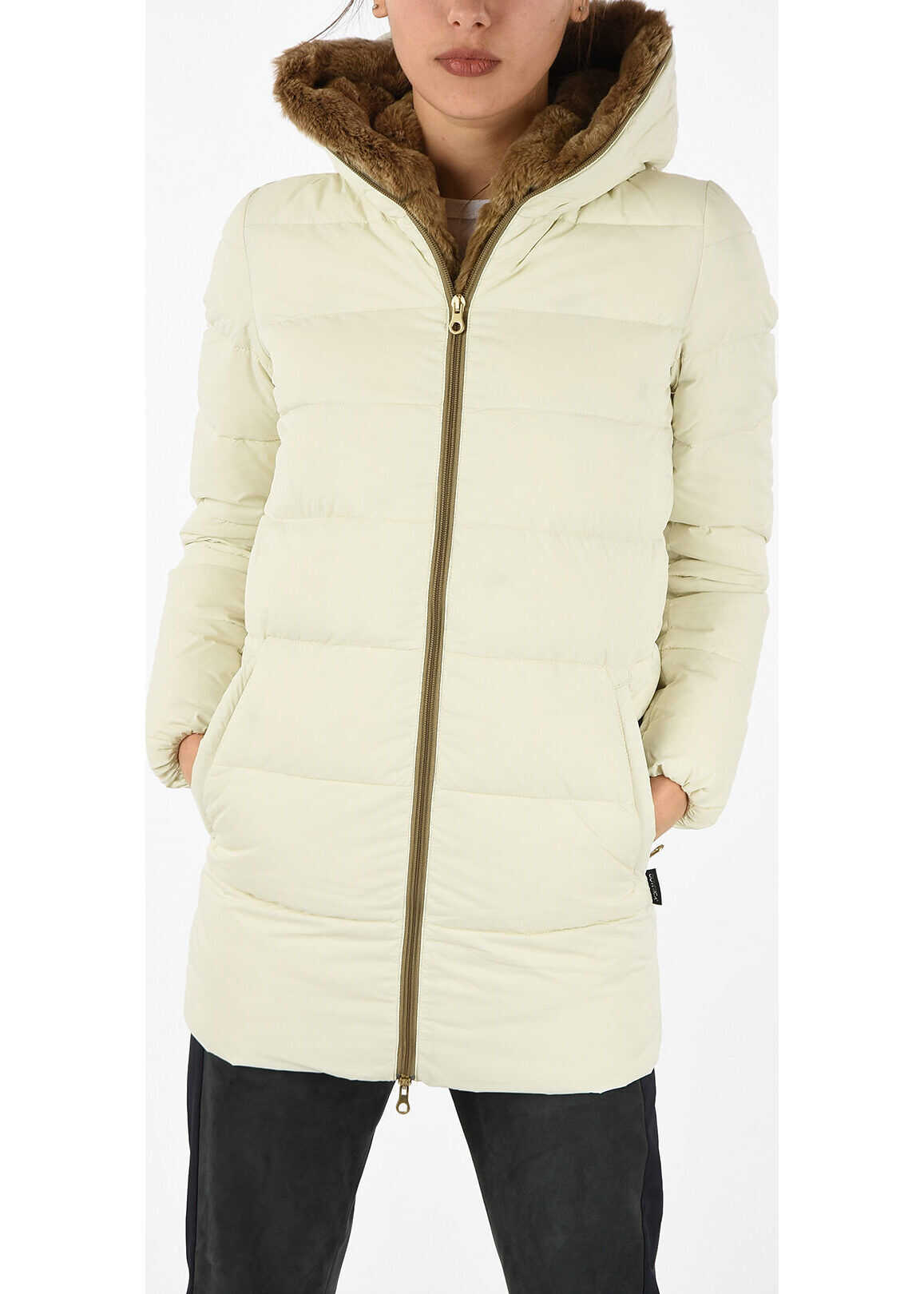 Duvetica Down CARYS Jacket with Fur Trim Neck WHITE