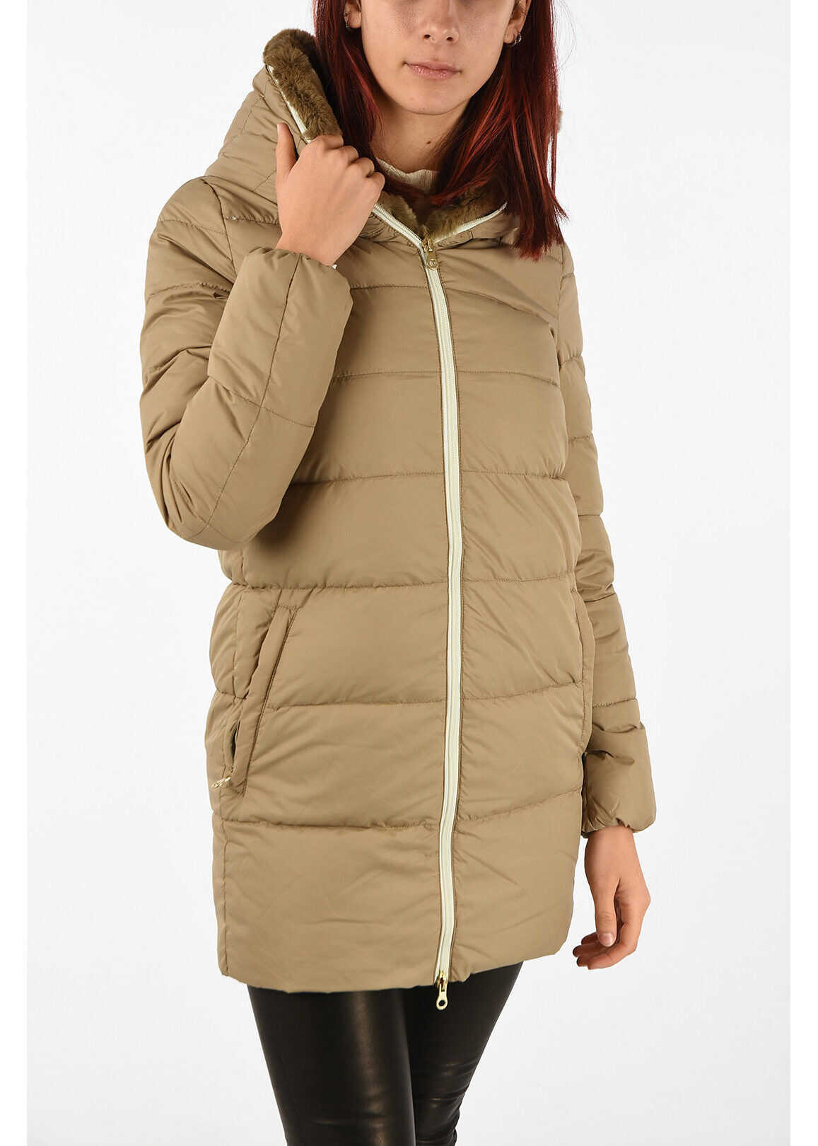 Duvetica Down CARYS Jacket with Fur Trim Neck BEIGE