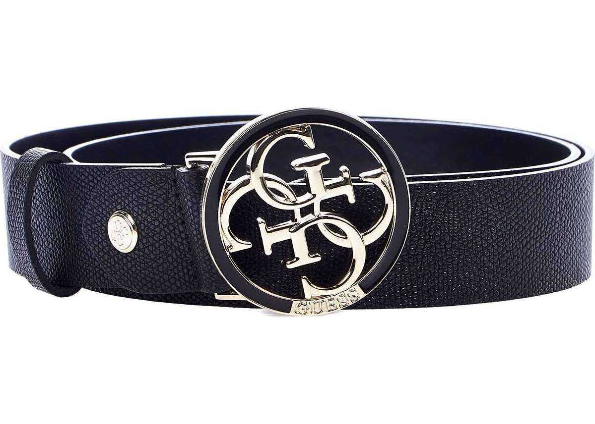 GUESS Fake leather belt with logo buckle Black