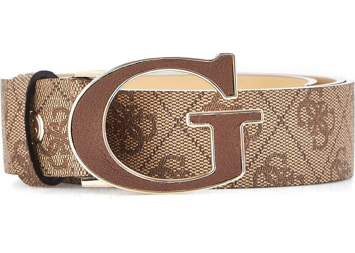 GUESS Belt with logo print Brown
