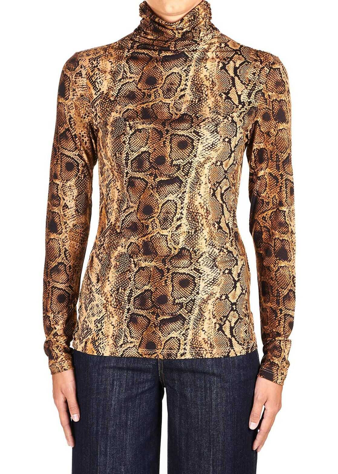 Liu Jo Printed turtleneck shirt Brown