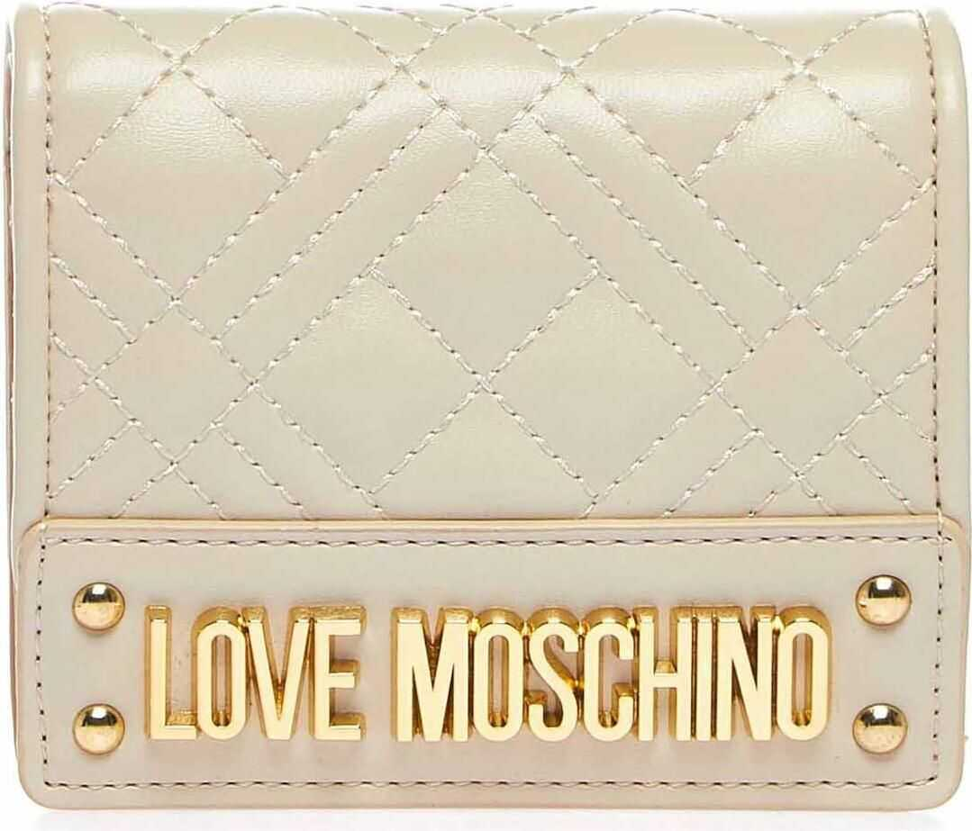LOVE Moschino Small quilted wallet Beige