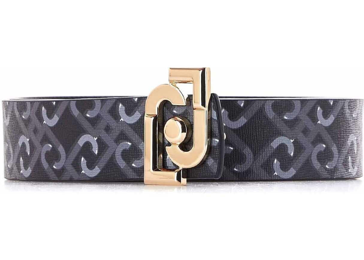 Liu Jo Reversible belt with logo print Black
