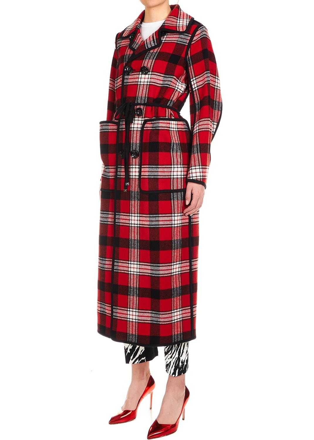 DSQUARED2 Checked coat Red