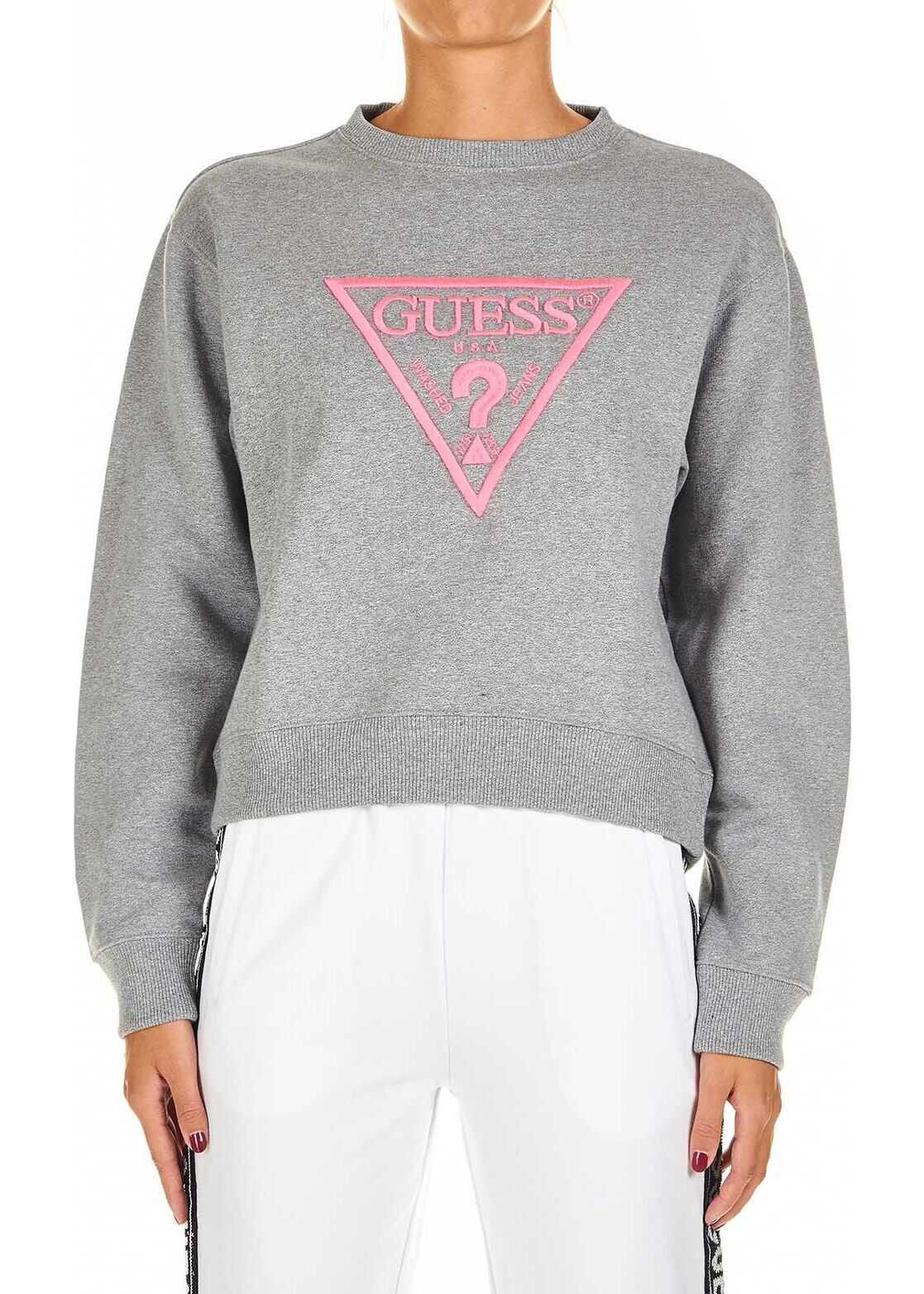 GUESS Sweatshirt with logo embroidery Grey