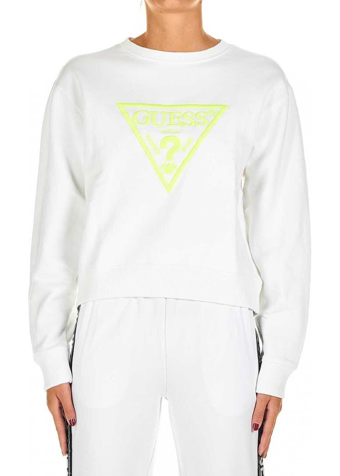 GUESS Sweatshirt with logo embroidery White