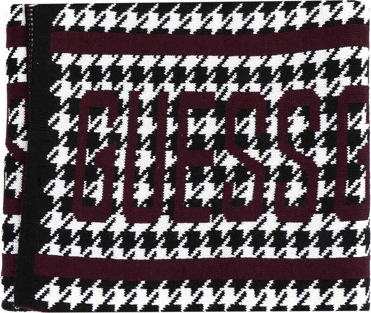 GUESS Scarf with houndstooth knit Red