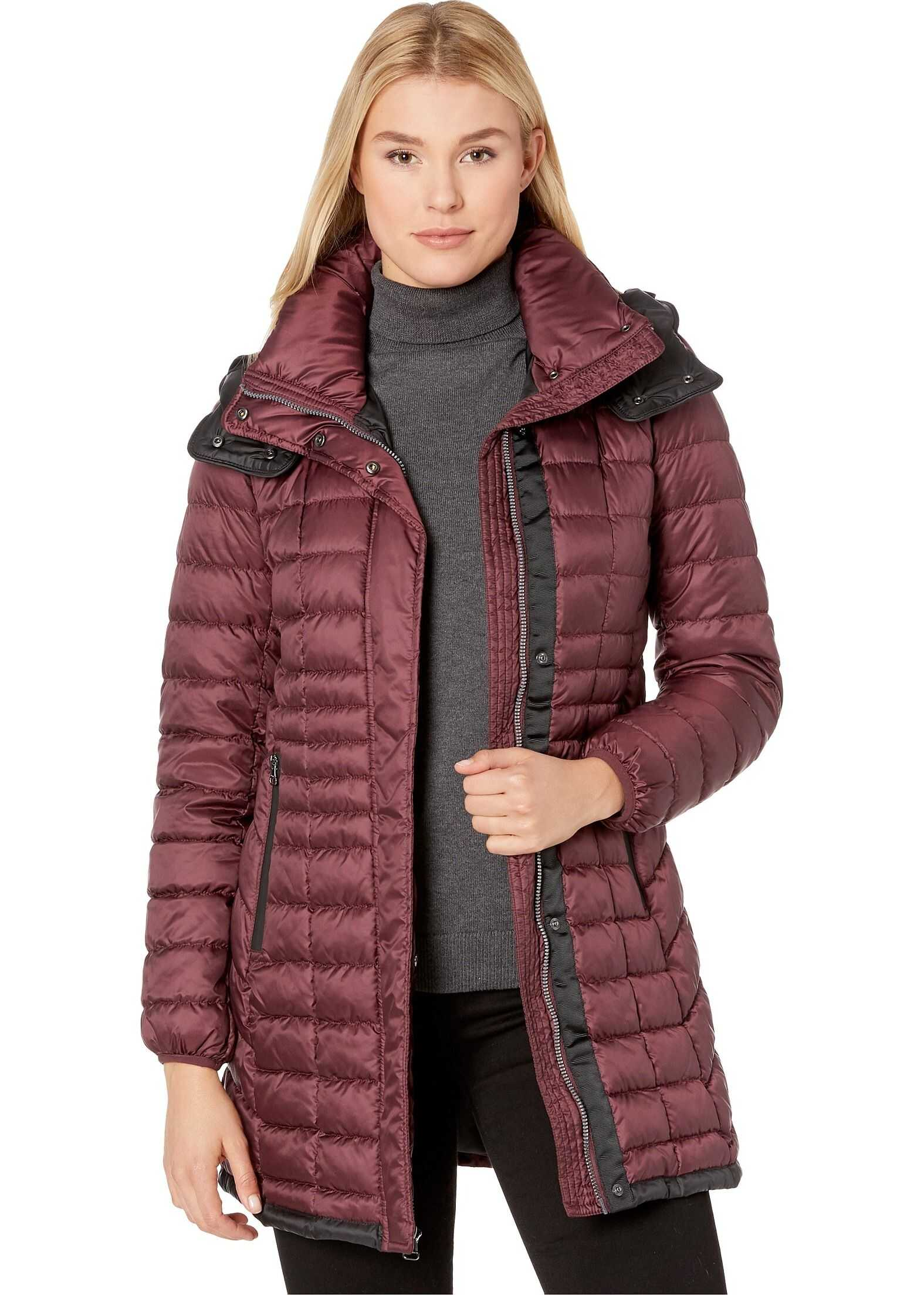 Marc New York by Andrew Marc Quilted Puffer Coat with Removable Hoodie Burgundy