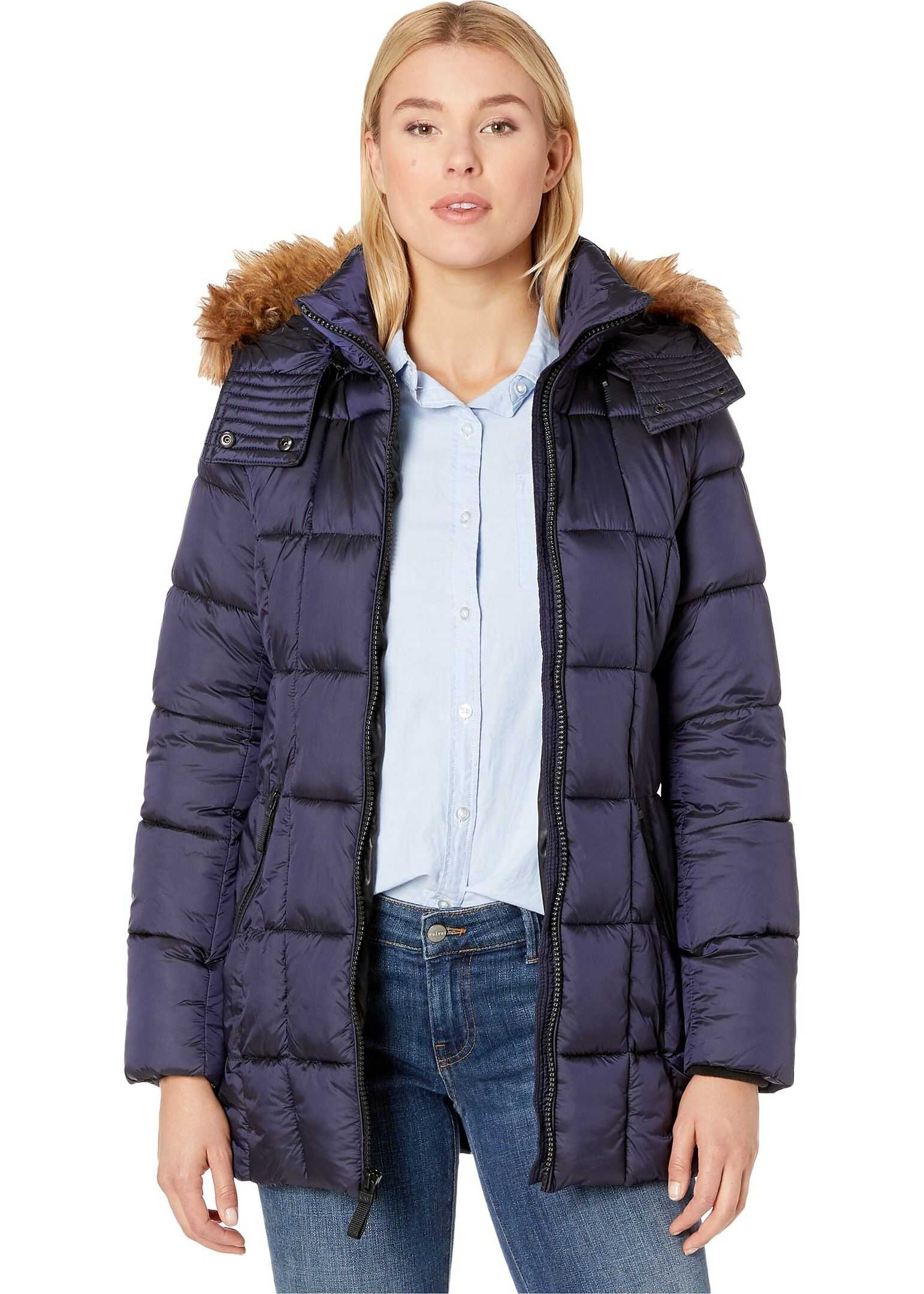 Marc New York by Andrew Marc Box Quilted Shine Puffer Jacket Navy