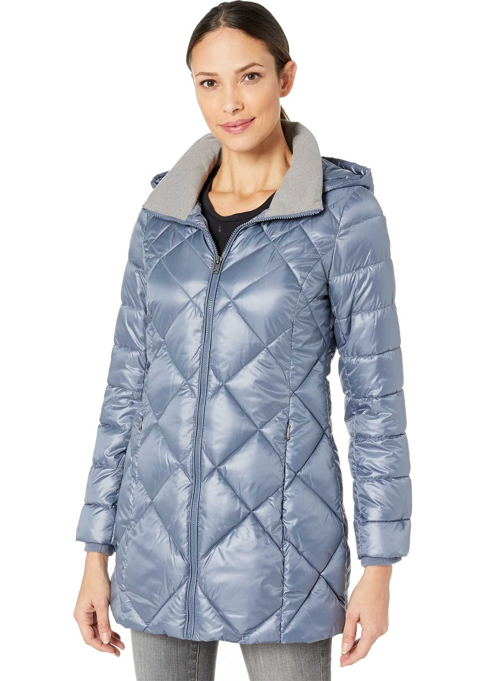 Marc New York by Andrew Marc Quilted Matte Satin Puffer Storm Blue