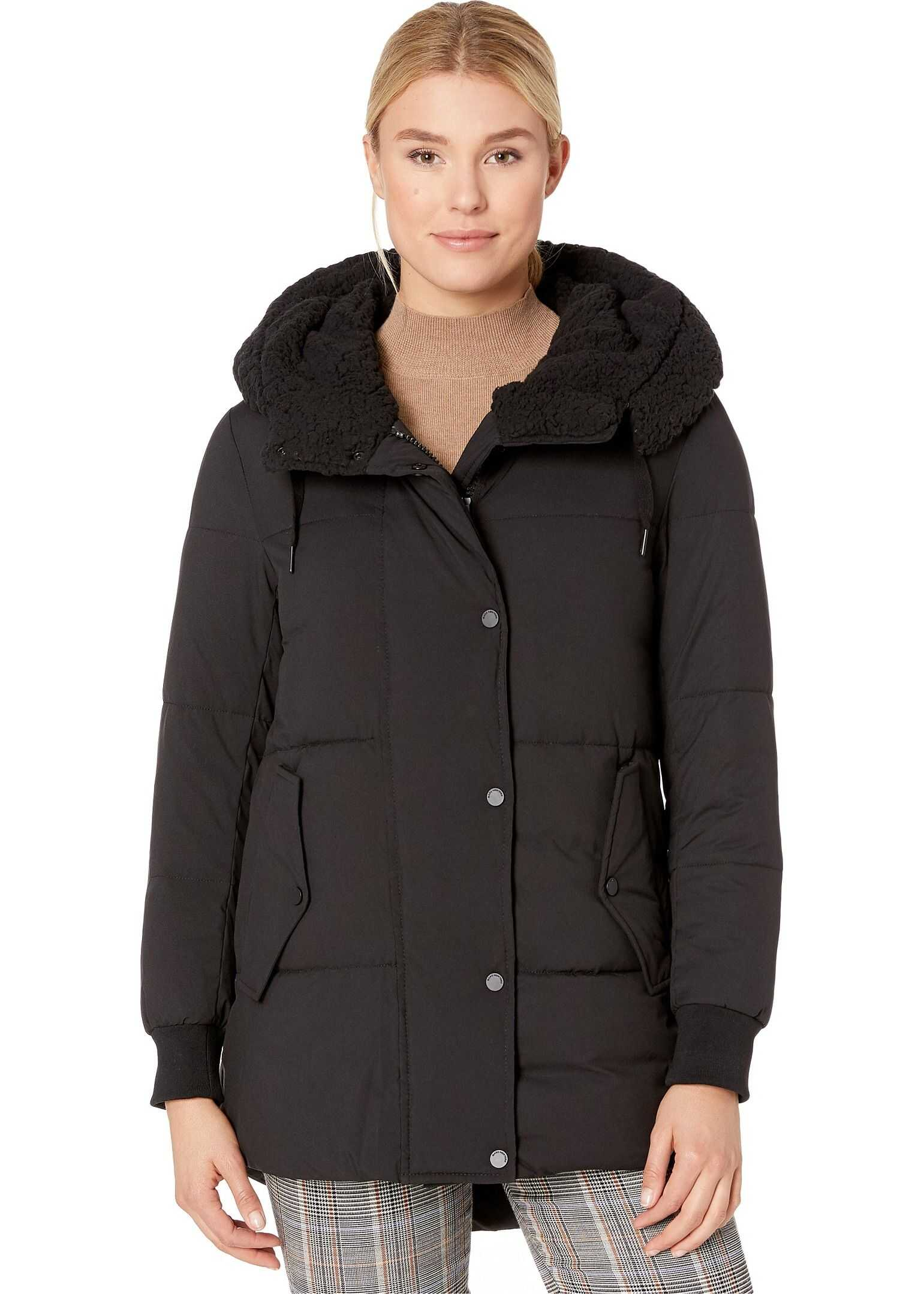 Marc New York by Andrew Marc Sherpa Hooded Anorak Black