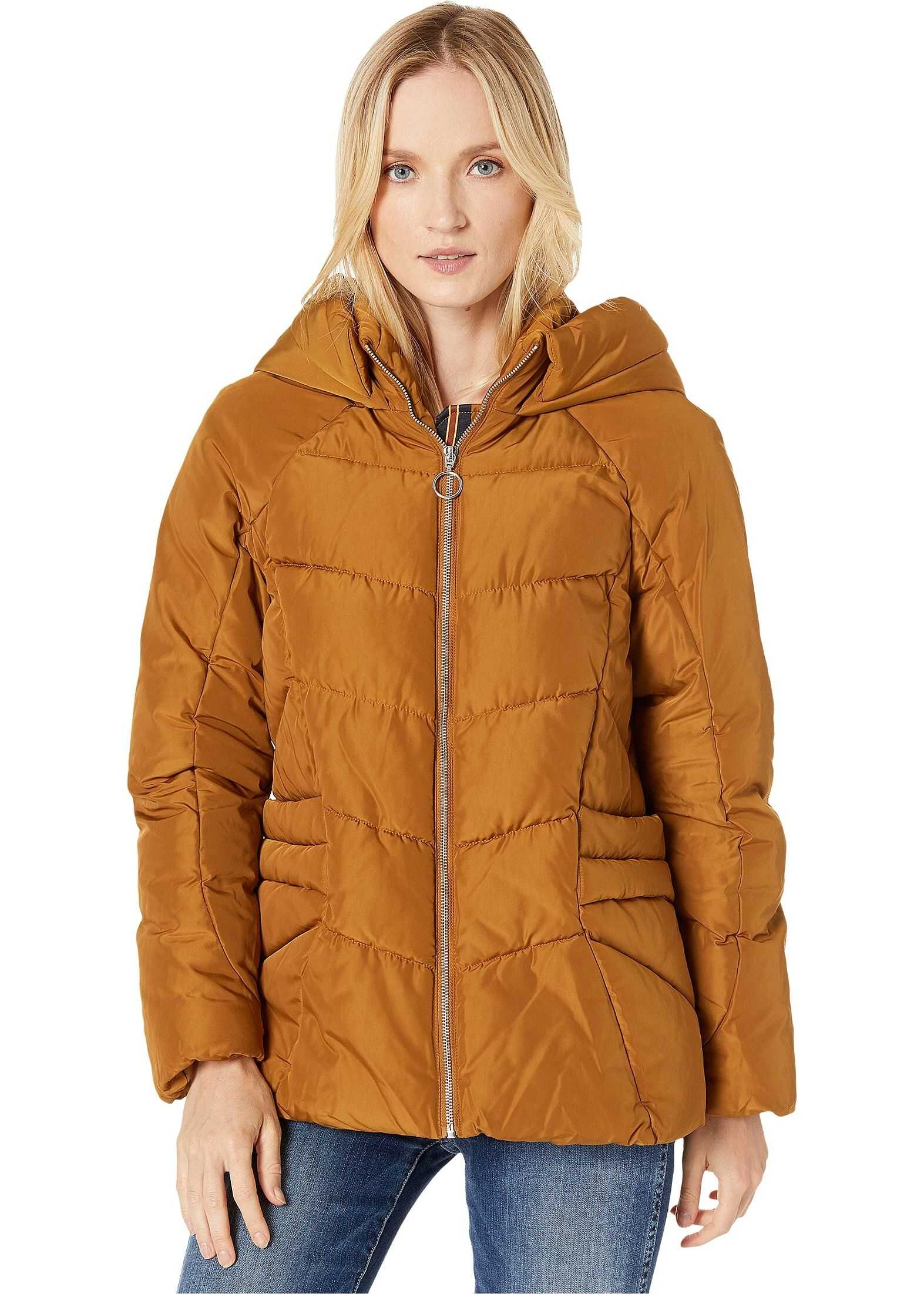Marc New York by Andrew Marc Hip Length Puffer Jacket w/ Zip Detail Umber