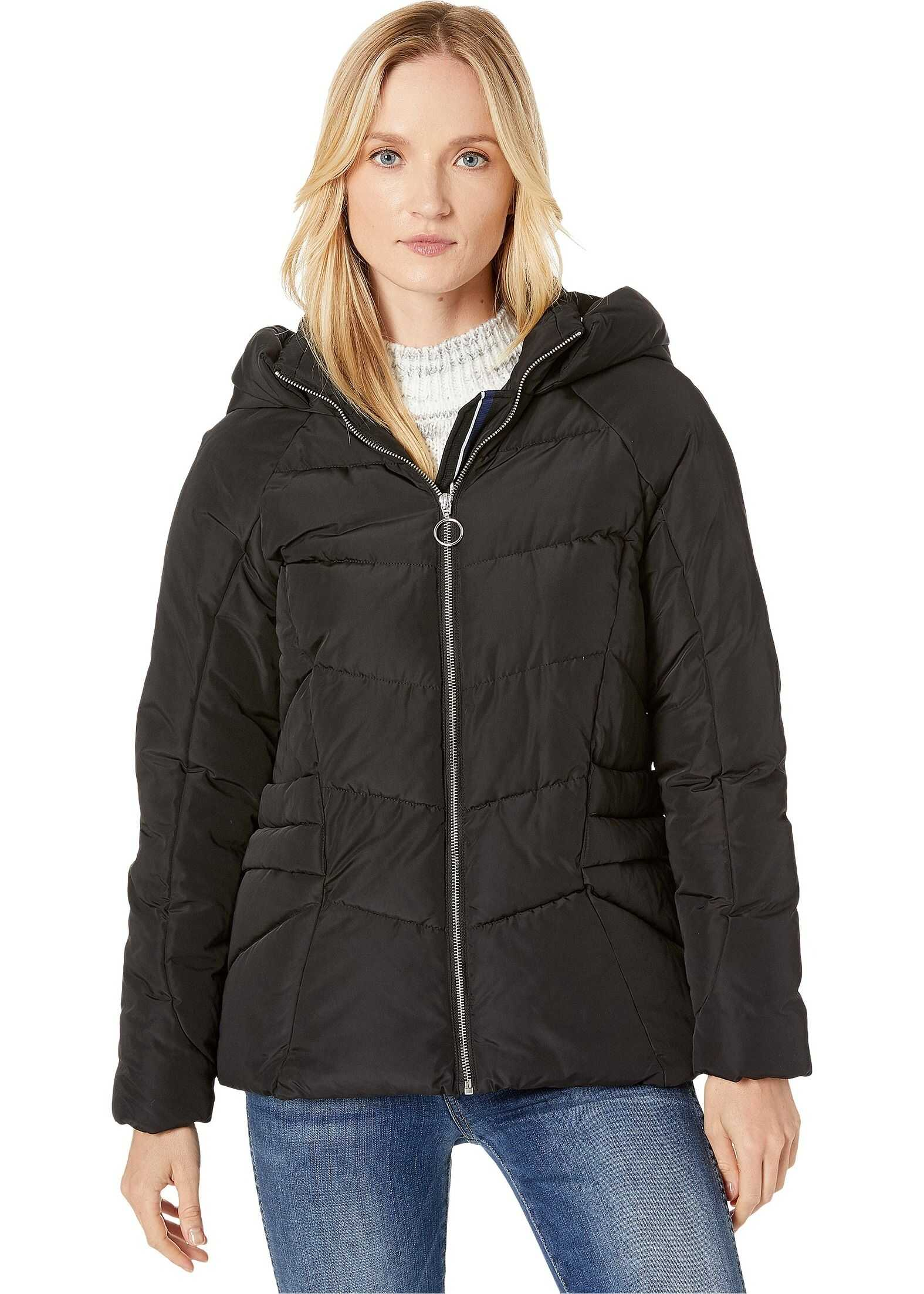 Marc New York by Andrew Marc Hip Length Puffer Jacket w/ Zip Detail Black