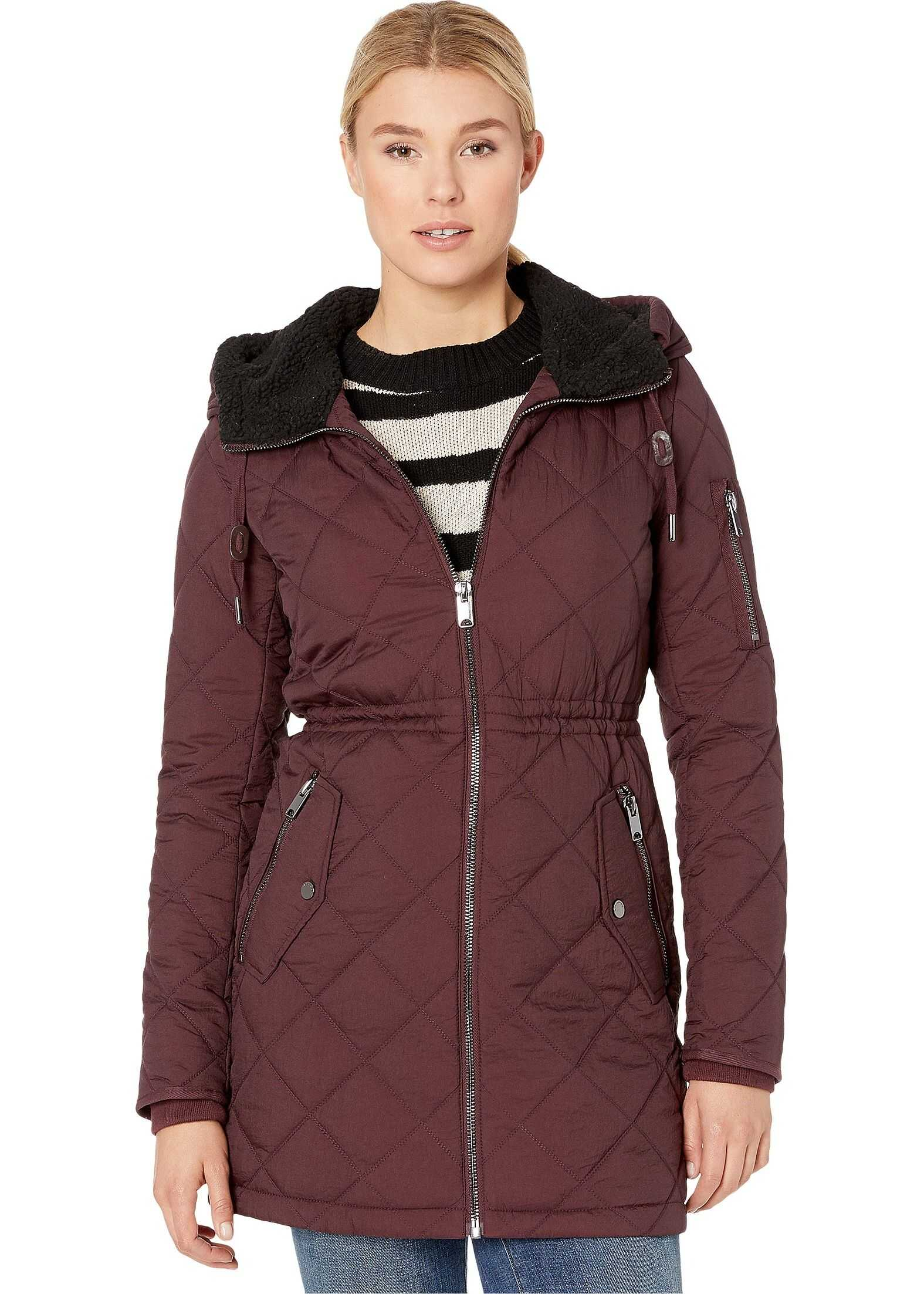 Marc New York by Andrew Marc Crinkle Cloth w/ Sherpa Burgundy