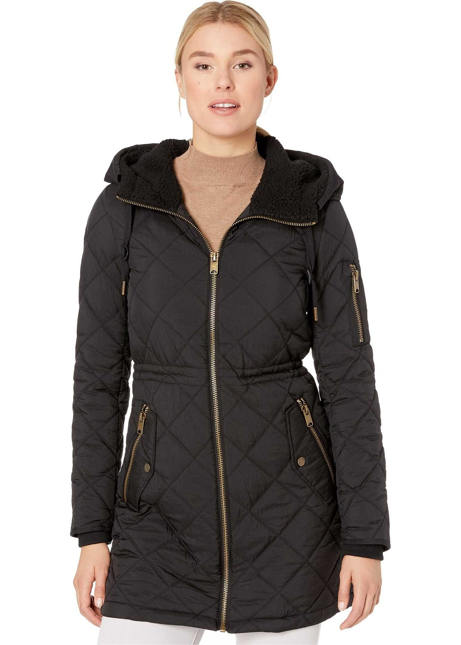 Marc New York by Andrew Marc Crinkle Cloth w/ Sherpa Black