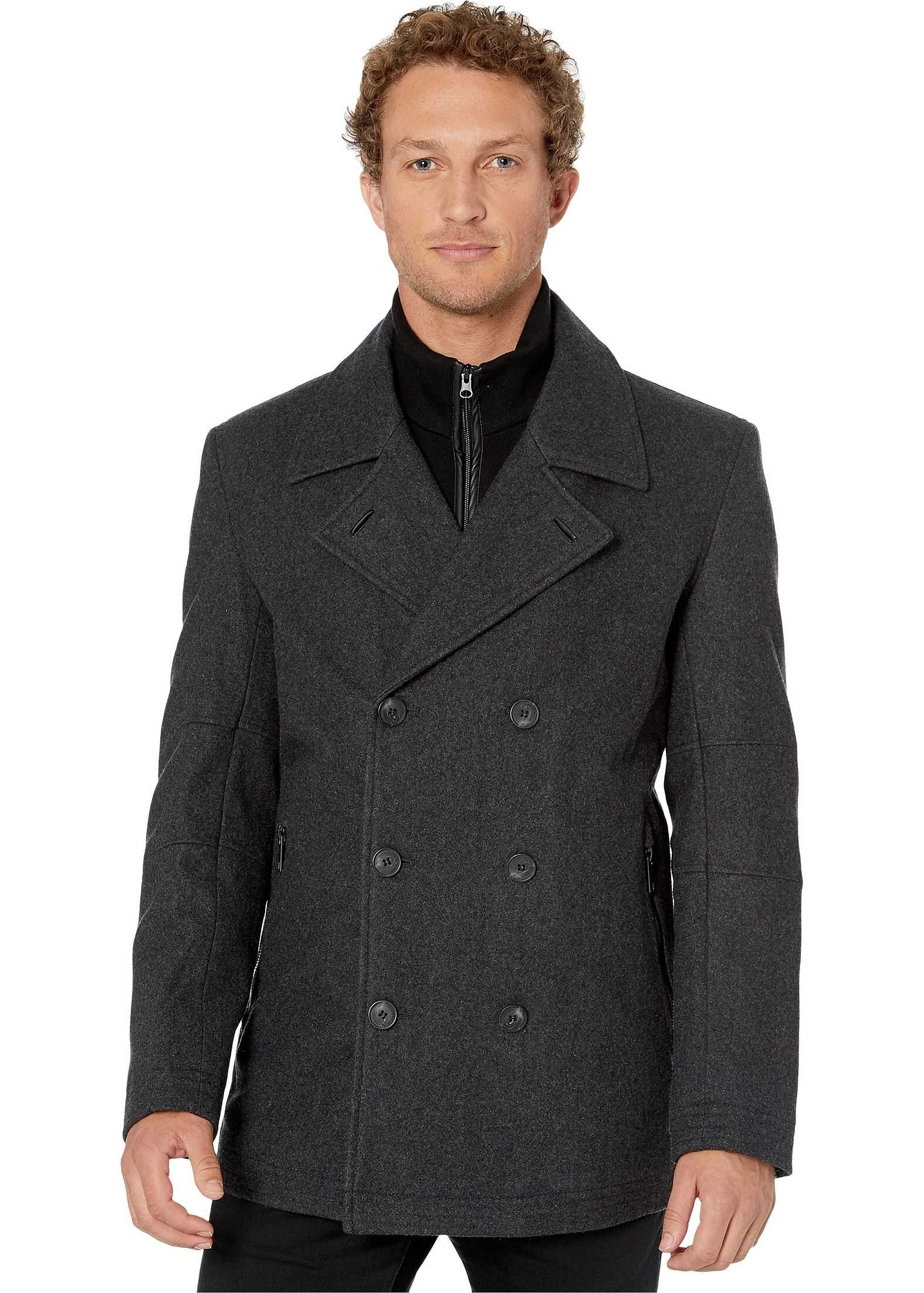 Marc New York by Andrew Marc Emmett Double Breast Coat with Inset Charcoal