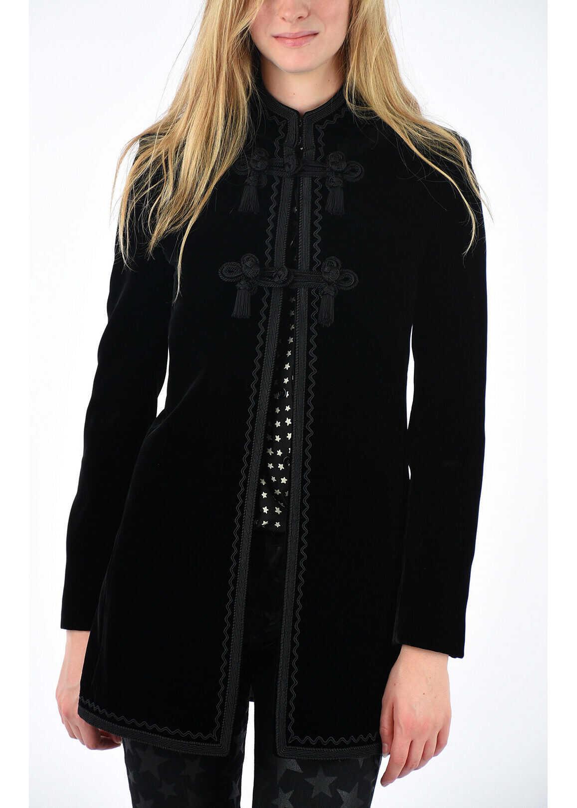 Saint Laurent Velvet Embroidered Coat BLACK