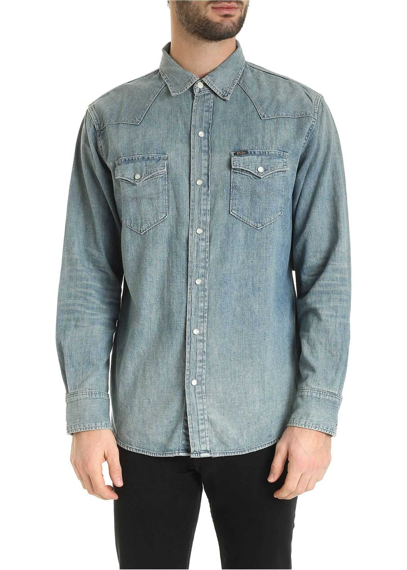 Ralph Lauren Icon Western Shirt In Faded Blue Light Blue imagine