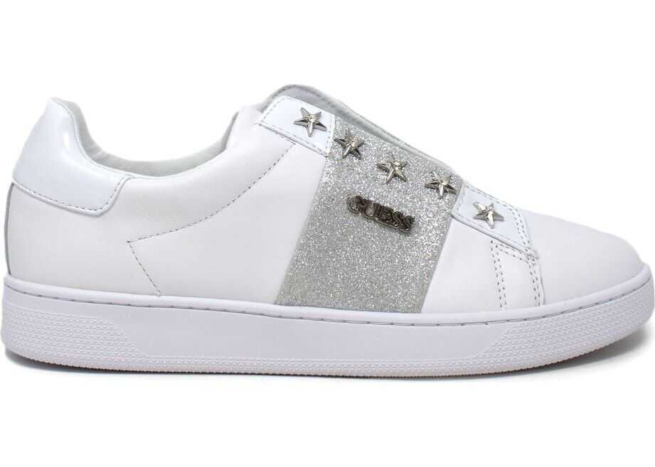 GUESS Faux Leather Slip On Sneakers WHITE