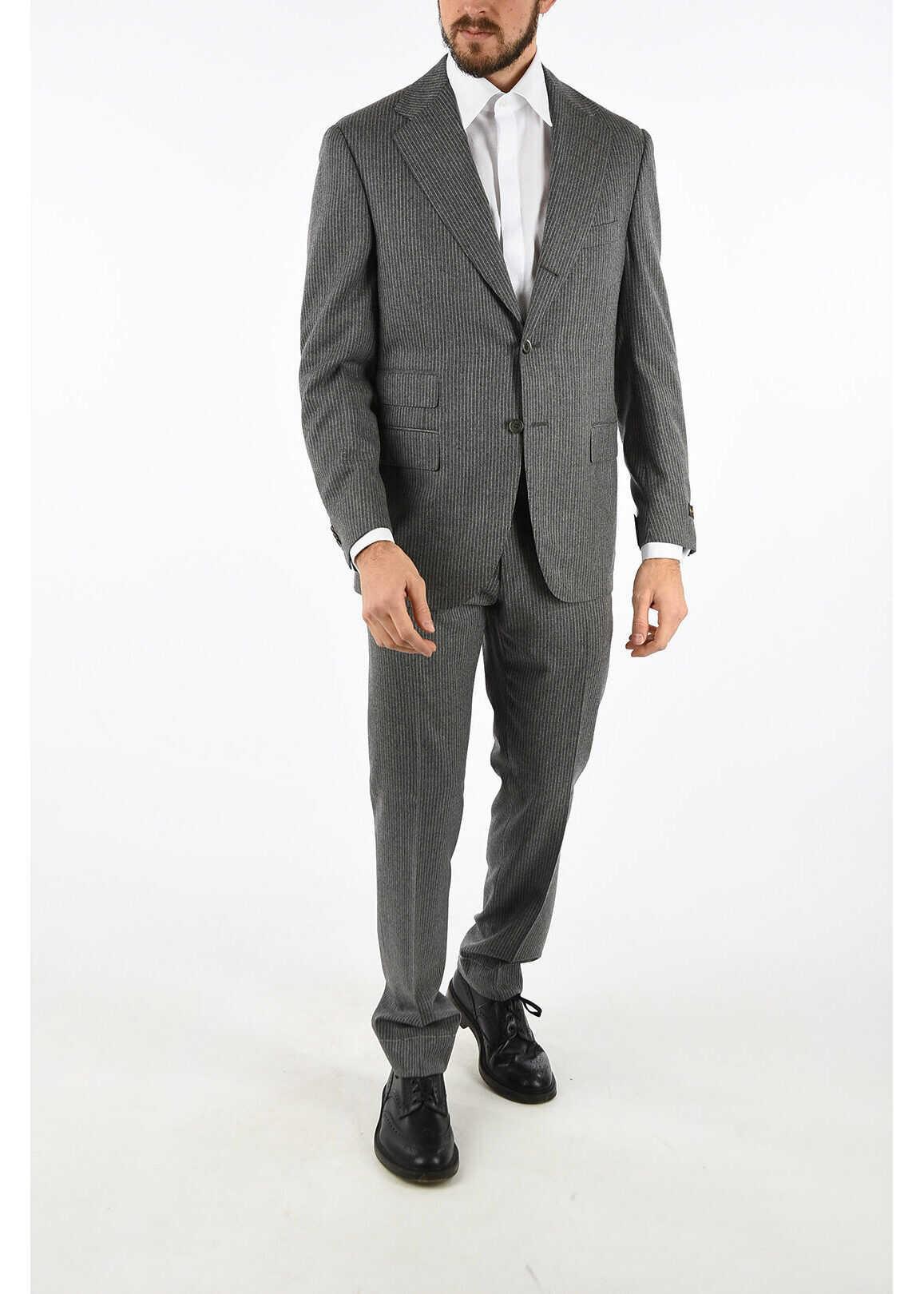 pinstriped super 120's LEADER 3-button suit thumbnail