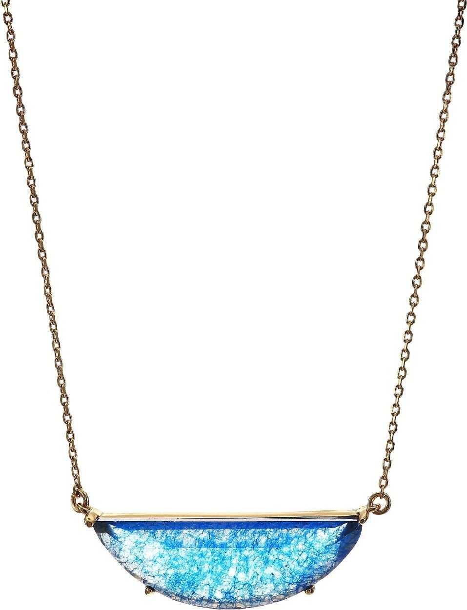 Kate Spade New York Half Moon Scallop Mini Pendant Necklace Blue