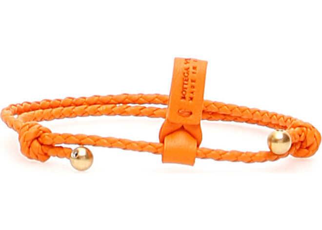 Bottega Veneta Unisex Intrecciato Bracelet With Two Knots L ORANGE L ORA GOLD