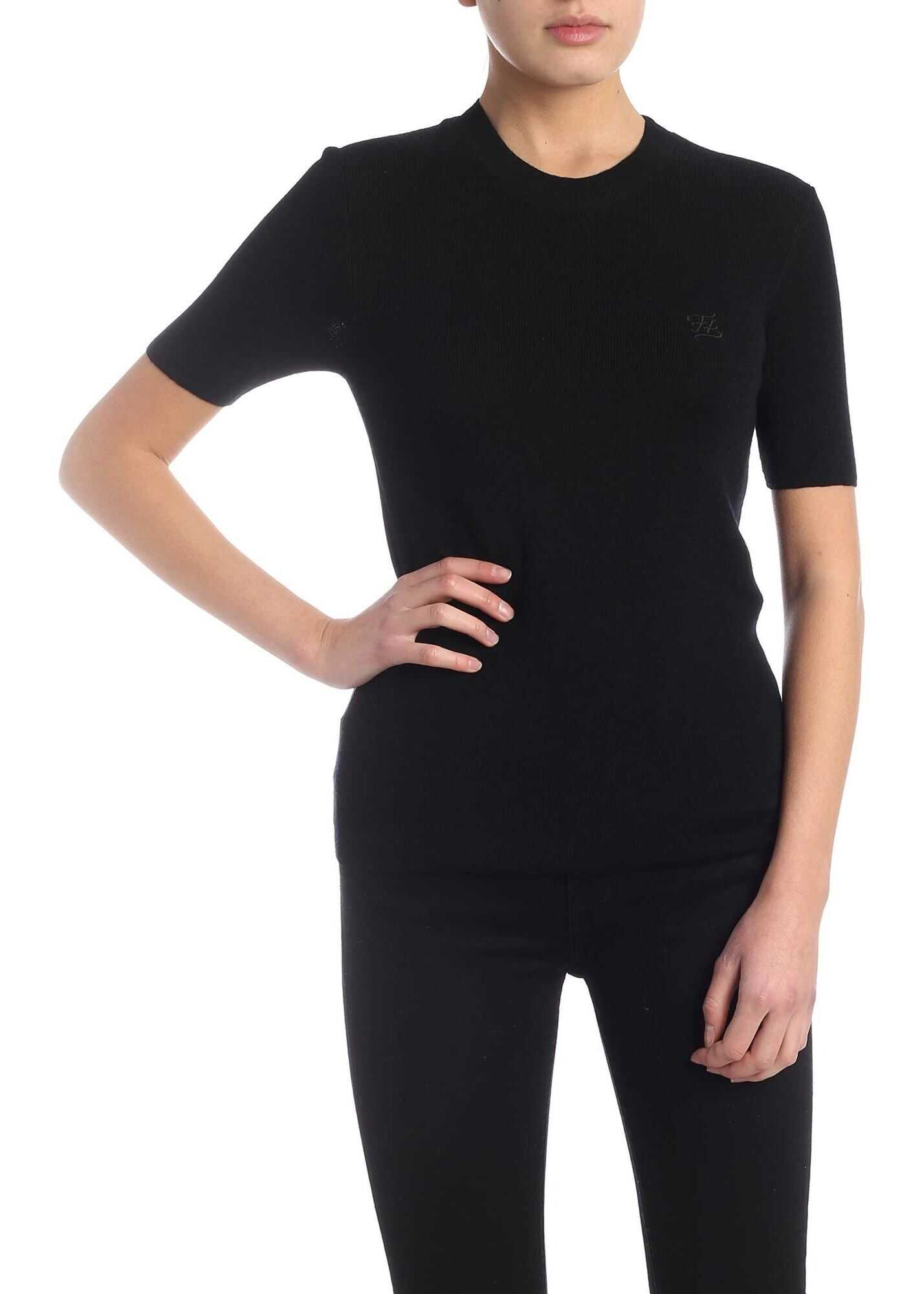 Fendi Karligraphy Short Sleeve Pullover In Black Black