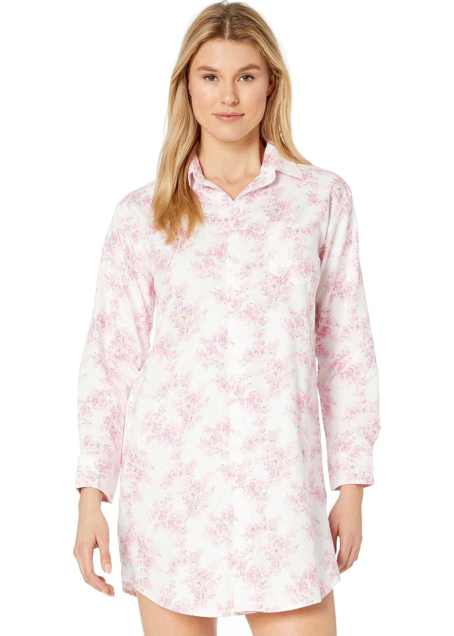 Ralph Lauren Classic Woven Long Sleeve His Shirt Sleepshirt Ivory Print