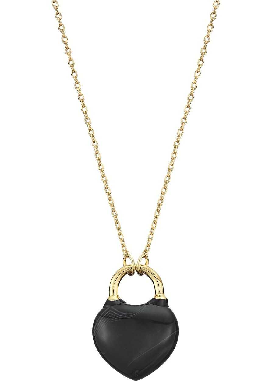 Kate Spade New York Open Heart Stone Lock Mini Pendant Necklace Black