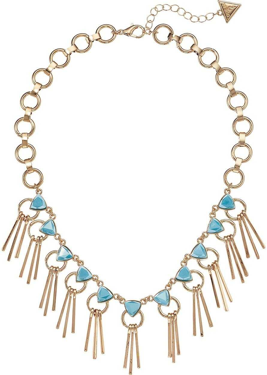 GUESS Statement Necklace with Stones and Mini Stick Drops Front Gold/Turquoise