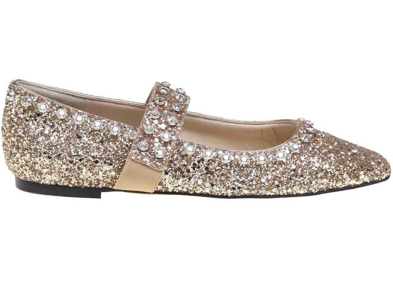 Minette Glitter Fabric Ballerinas In Golden thumbnail