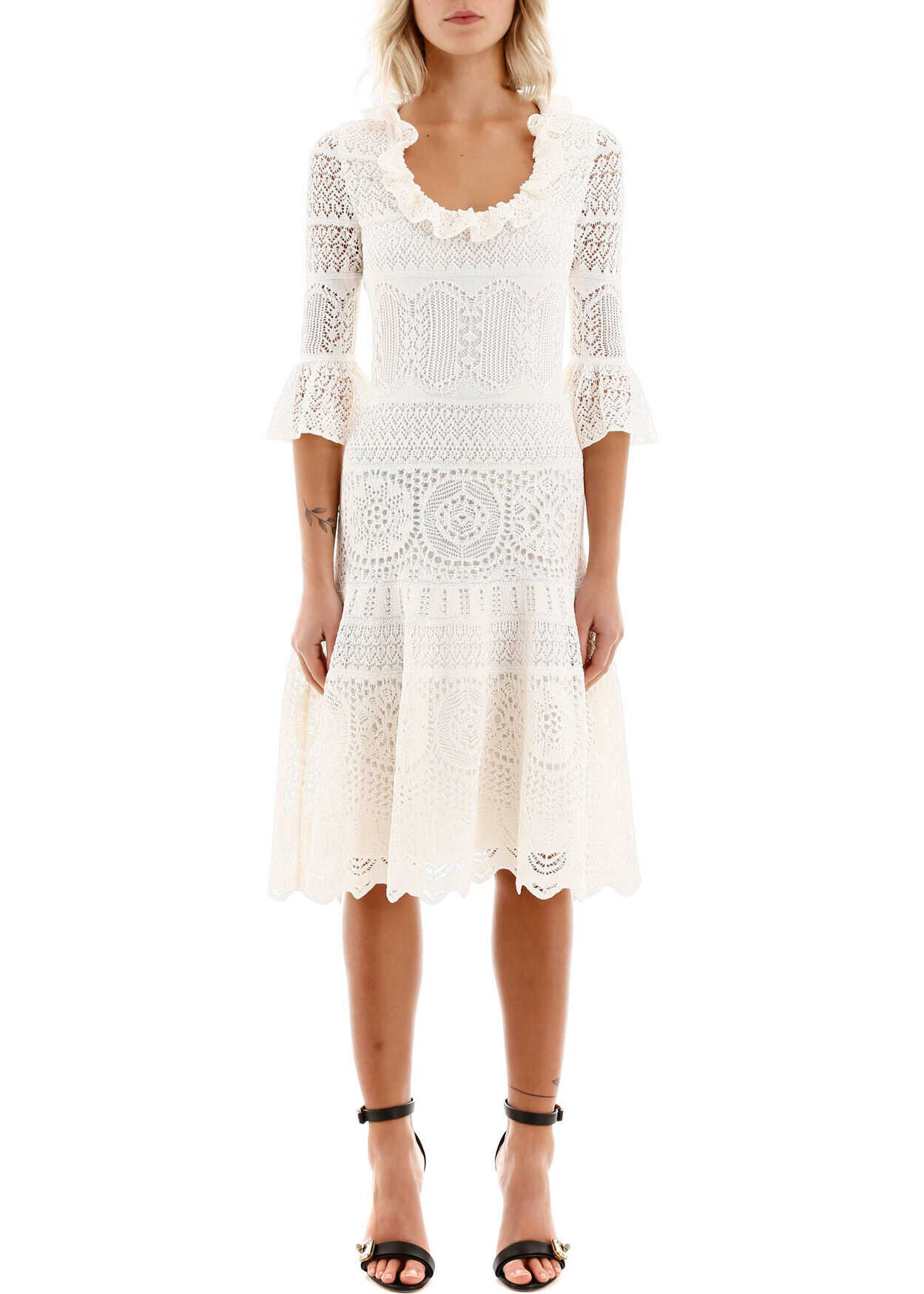 Alexander McQueen Lace Midi Dress IVORY