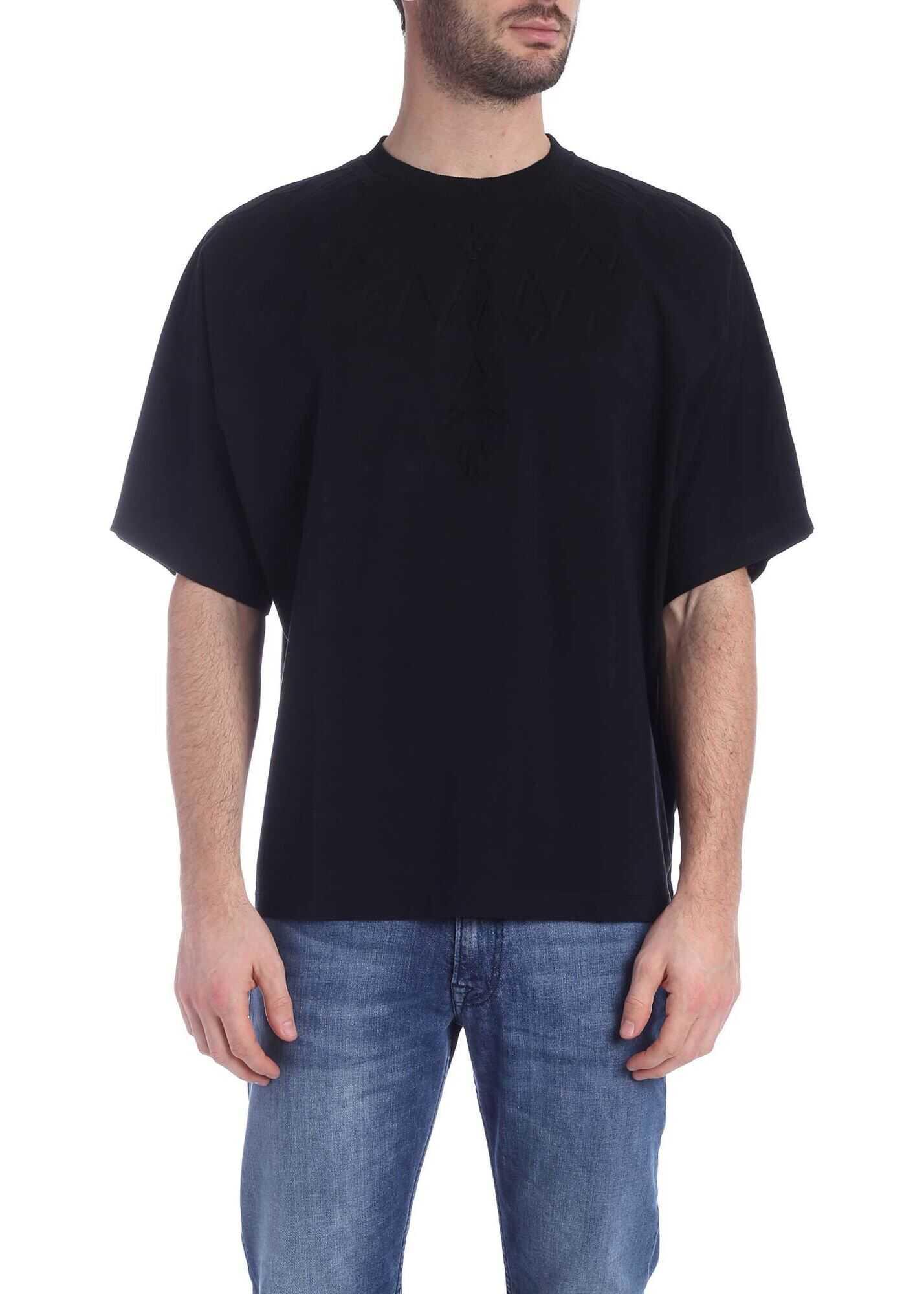 Marcelo Burlon Embossed Wings Over T-Shirt In Black Black