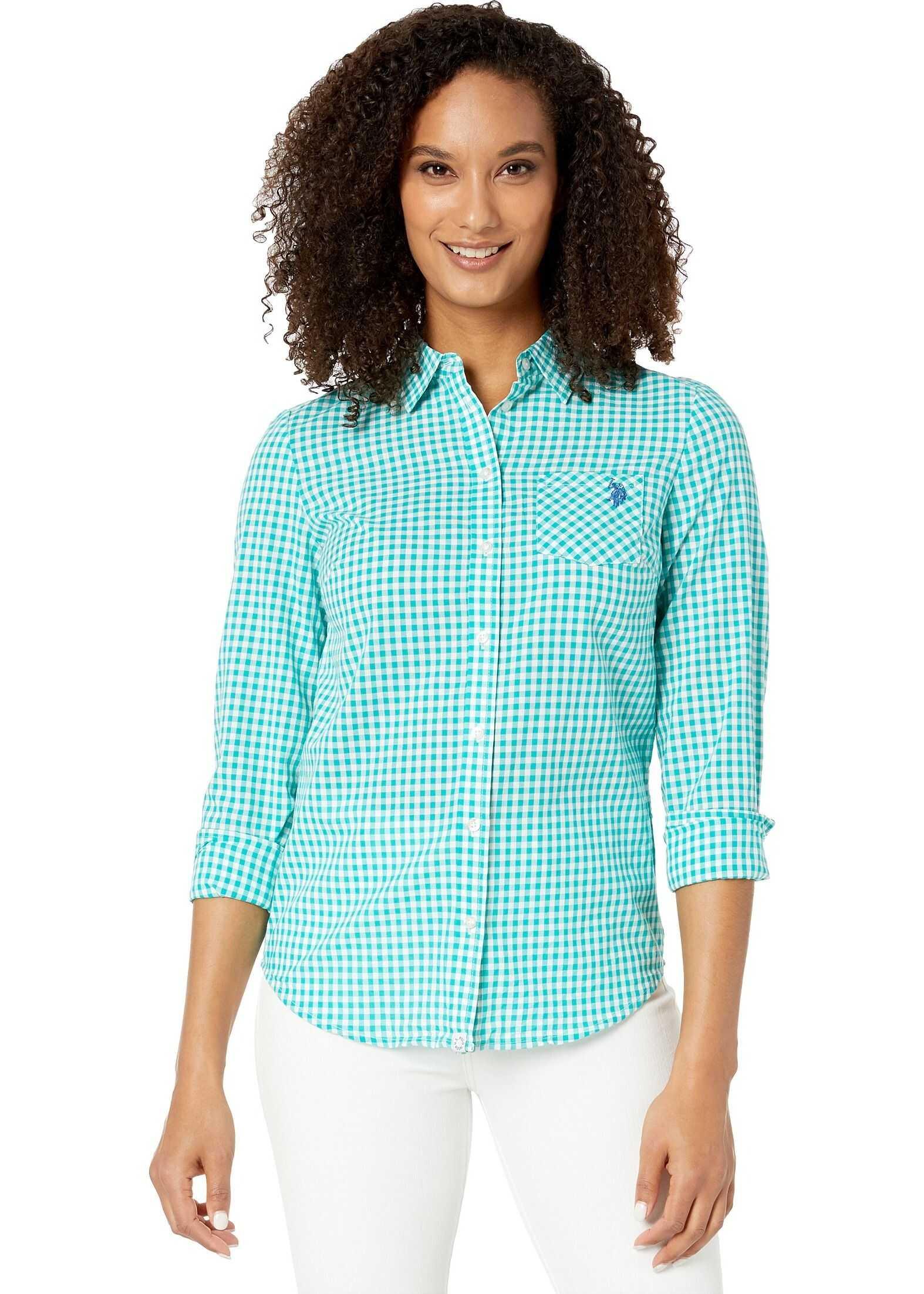 U.S. POLO ASSN. Plaid Woven Shirt Deep Aquamarine