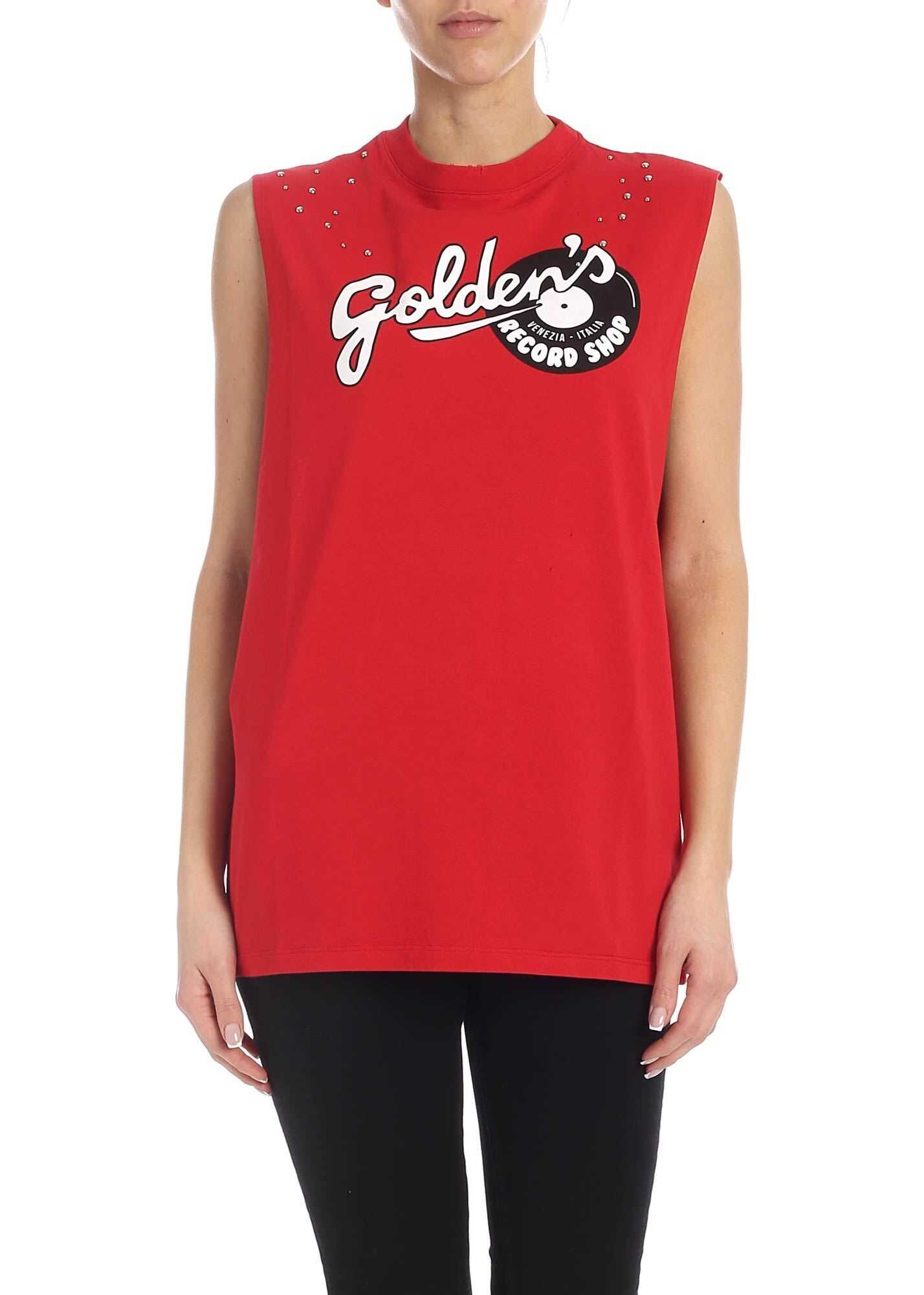 Golden Goose Marfa Golden's Print T-Shirt In Red Red