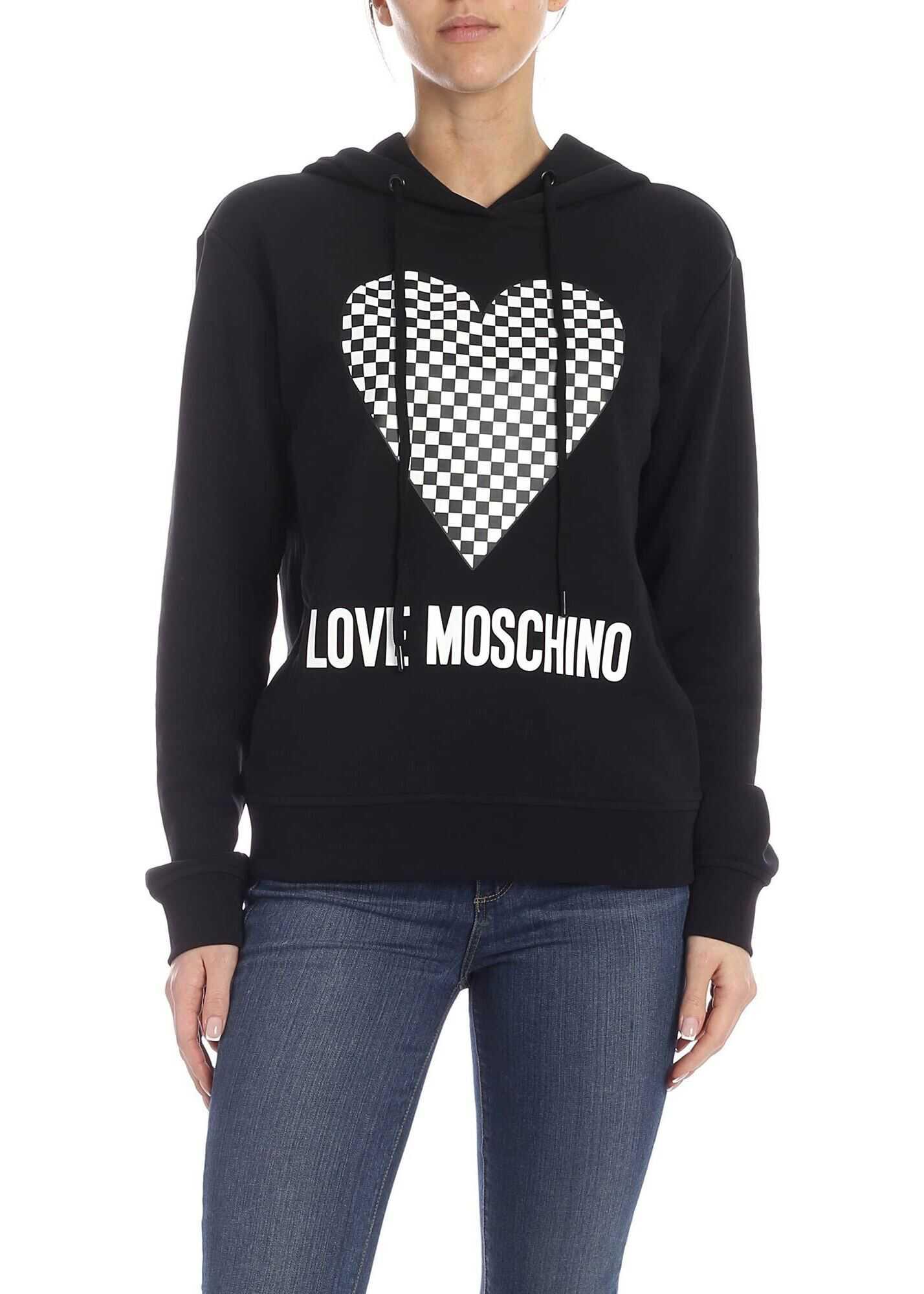 LOVE Moschino Sweatshirt In Black With Checkered Logo Black