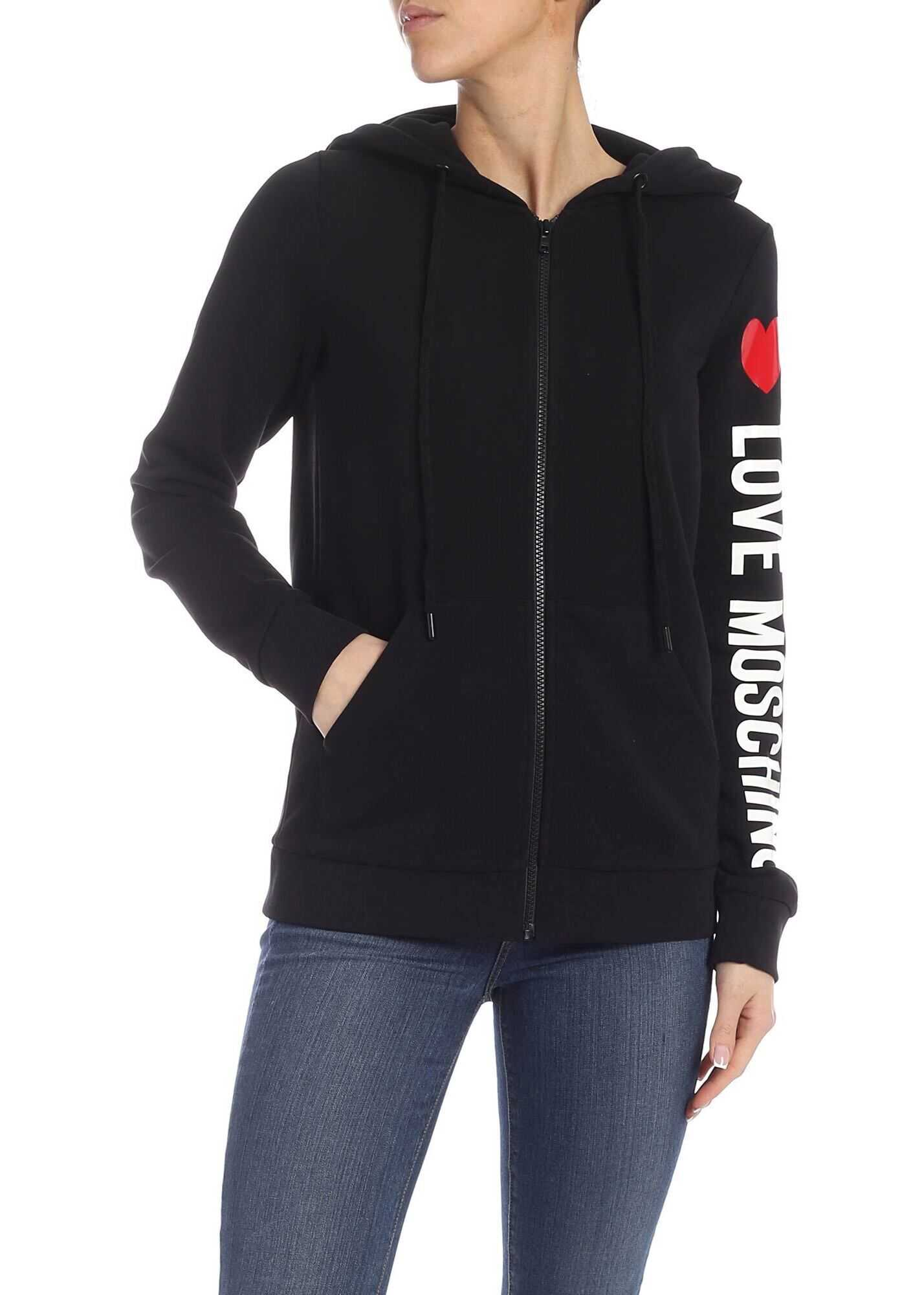 LOVE Moschino Sweatshirt In Black With Logo On The Sleeve Black