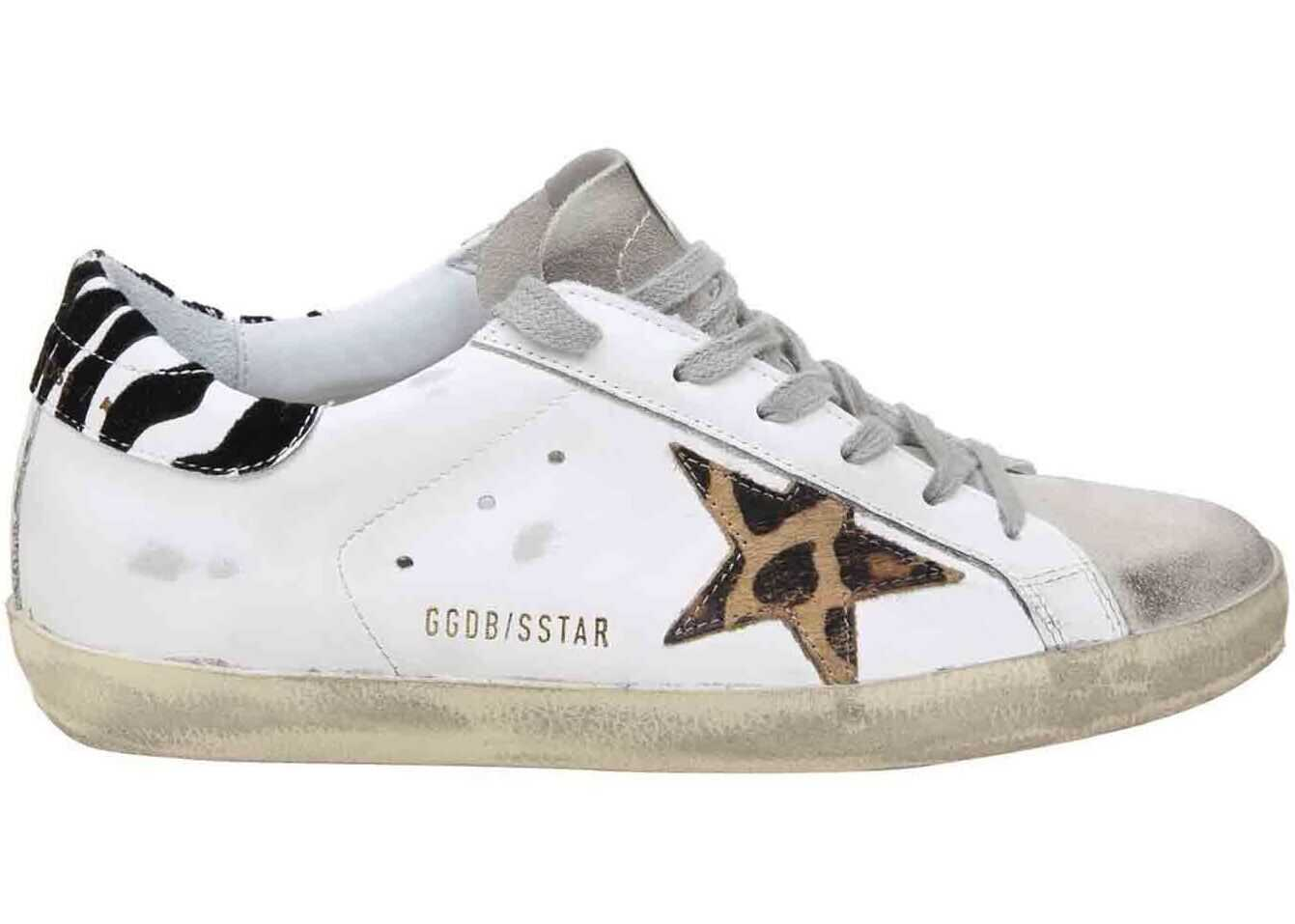Golden Goose White Superstar Sneakers With Animal Print Details White