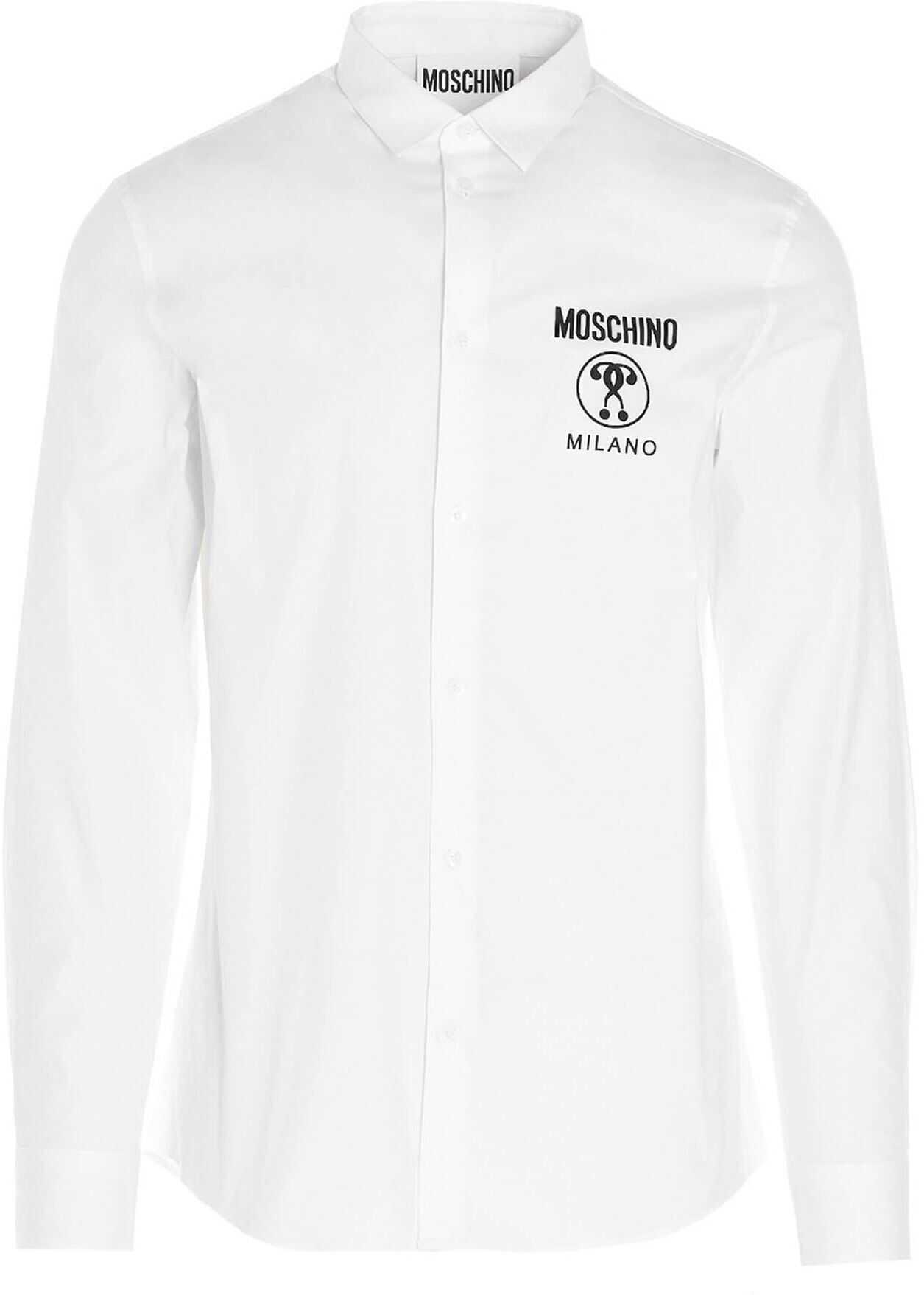 Moschino Logo Shirt In White White imagine
