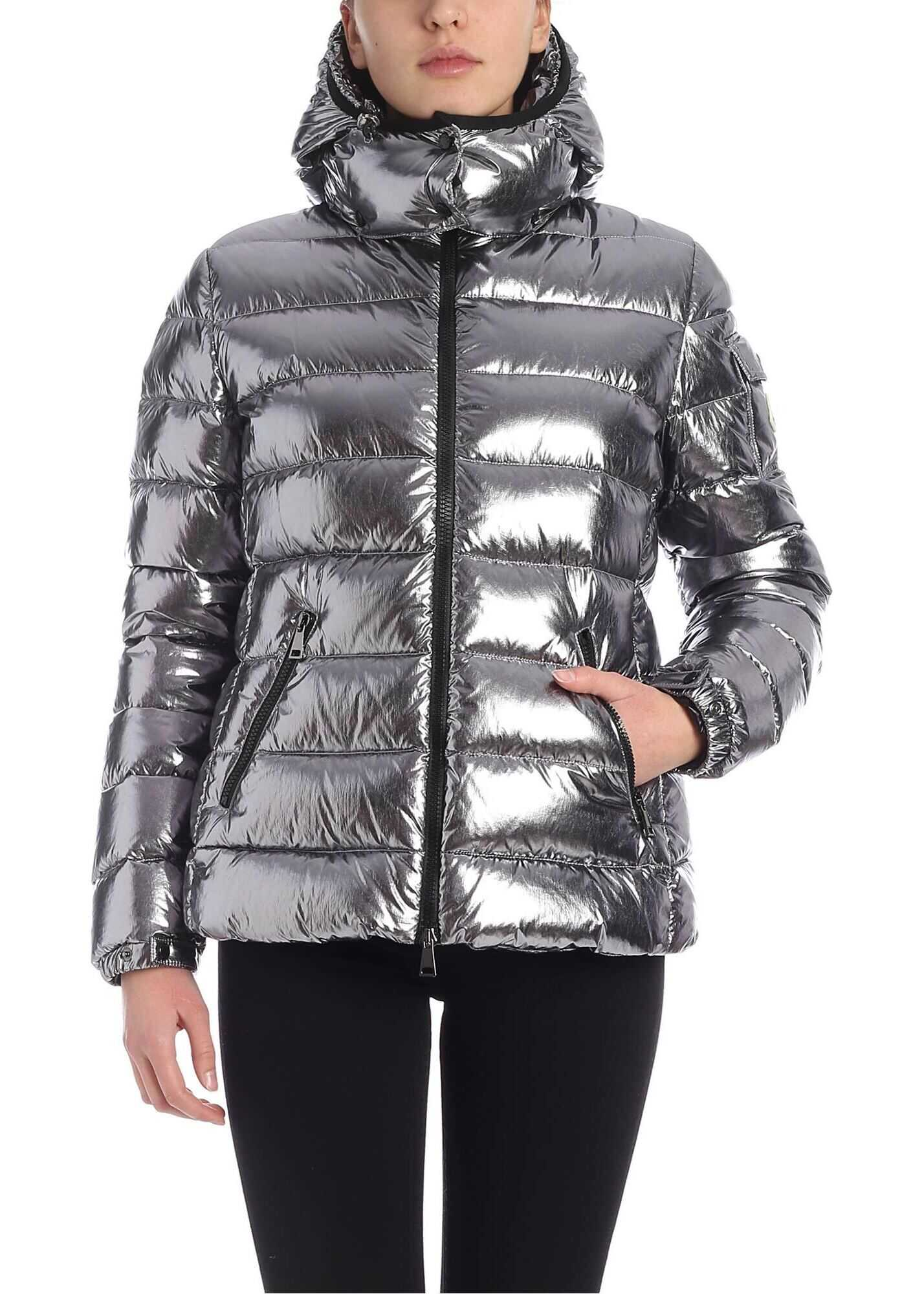 Moncler Bady Down Jacket In Laminated Silver Silver