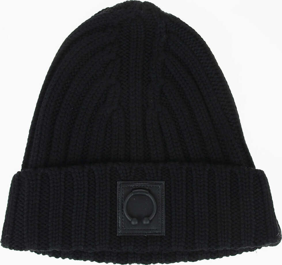 Neil Barrett Wool ICONIC PIERCED Hat BLACK