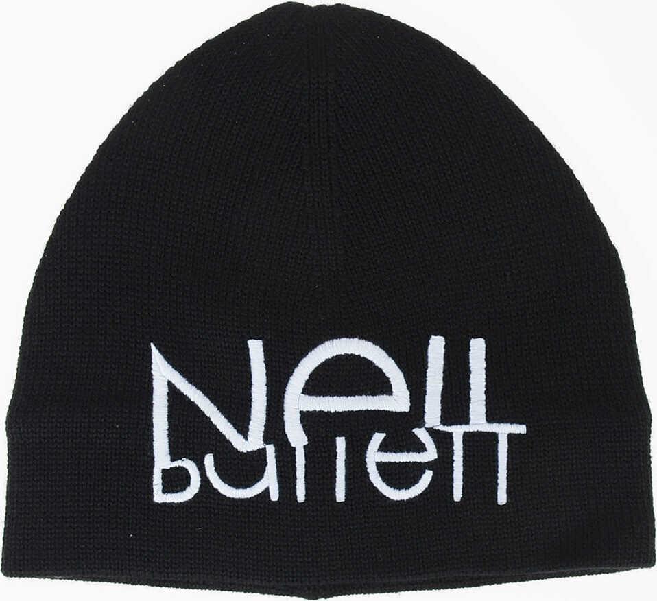 Neil Barrett Wool Blend SLICED LOGO Hat BLACK