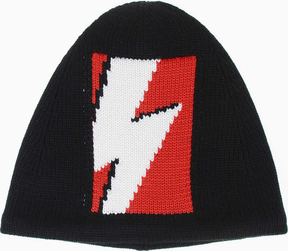 Neil Barrett Merino Wool POP ART THUNDER Hat BLACK