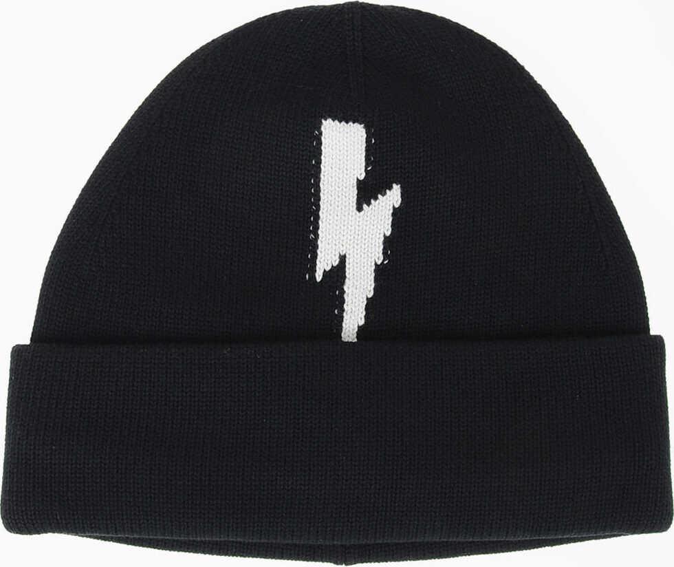 Neil Barrett Cotton BOLT SOFT Hat BLACK